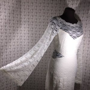 Free People ivory Chiffon Lace Bell Tunic Dress L